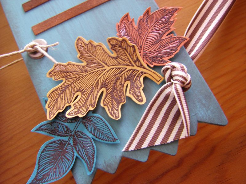 Embossed leaves on wreath upclose